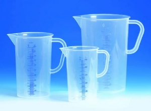 Beher-Kulplu, plastik (PP)  Mavi baskılı,  Mat, taksimatlı